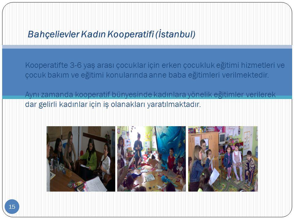 15 Bahçelievler Kadın Kooperatifi (İstanbul) Kooperatifte 3-6 yaş arası çocuklar için erken çocukluk eğitimi hizmetleri ve çocuk bakım ve eğitimi konu