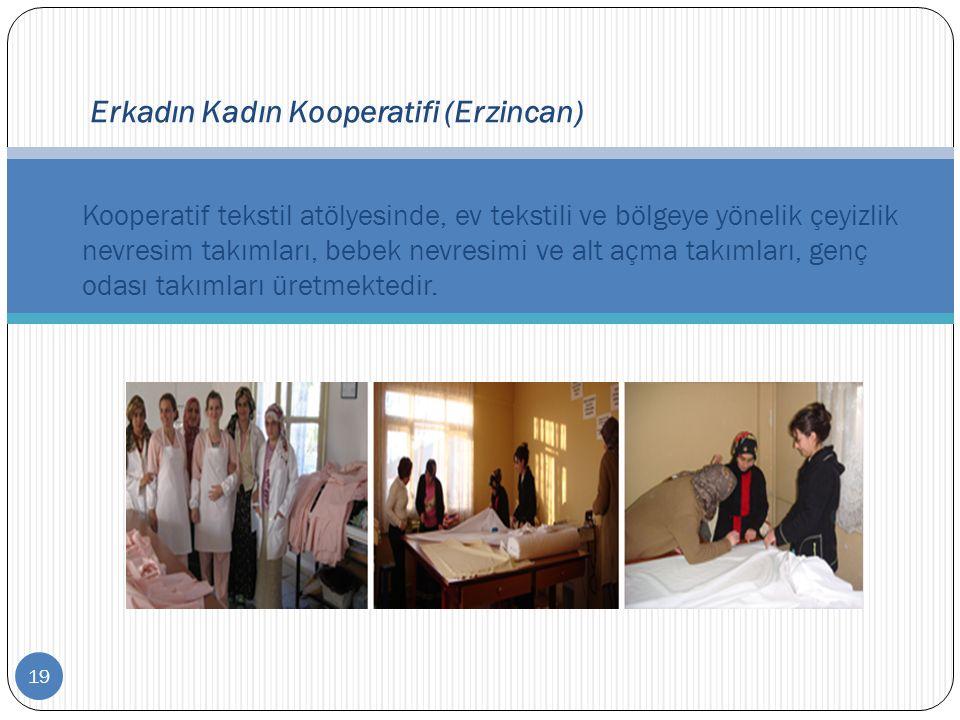 19 Erkadın Kadın Kooperatifi (Erzincan) Kooperatif tekstil atölyesinde, ev tekstili ve bölgeye yönelik çeyizlik nevresim takımları, bebek nevresimi ve