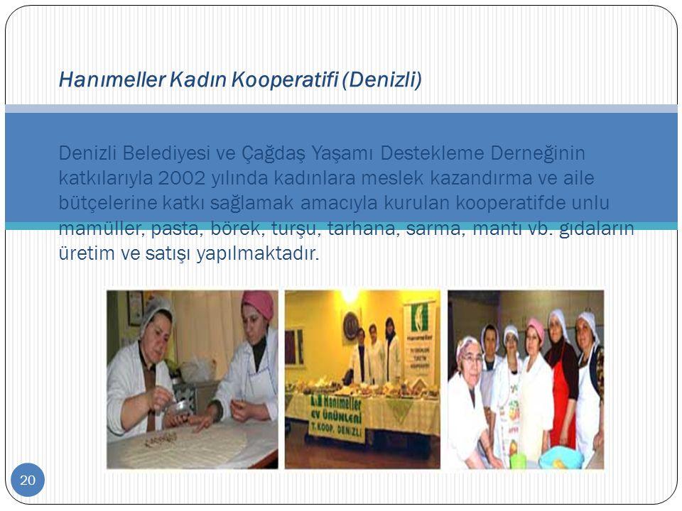 20 Hanımeller Kadın Kooperatifi (Denizli) Denizli Belediyesi ve Çağdaş Yaşamı Destekleme Derneğinin katkılarıyla 2002 yılında kadınlara meslek kazandı