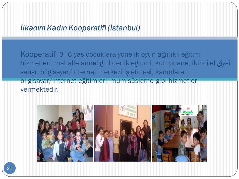 21 İlkadım Kadın Kooperatifi (İstanbul) Kooperatif 3–6 yaş çocuklara yönelik oyun ağırlıklı eğitim hizmetleri, mahalle anneliği, liderlik eğitimi, küt