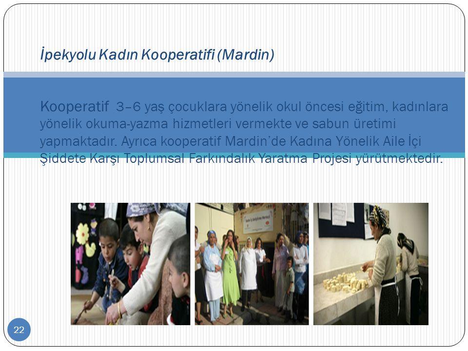 22 İpekyolu Kadın Kooperatifi (Mardin) Kooperatif 3–6 yaş çocuklara yönelik okul öncesi eğitim, kadınlara yönelik okuma-yazma hizmetleri vermekte ve s