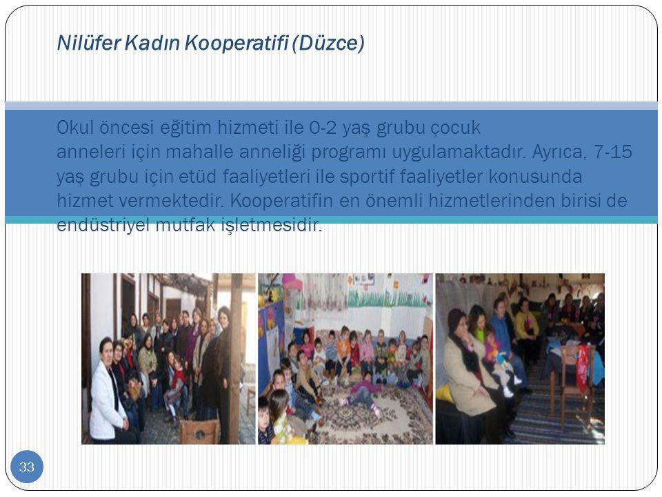 33 Nilüfer Kadın Kooperatifi (Düzce) Okul öncesi eğitim hizmeti ile 0-2 yaş grubu çocuk anneleri için mahalle anneliği programı uygulamaktadır. Ayrıca