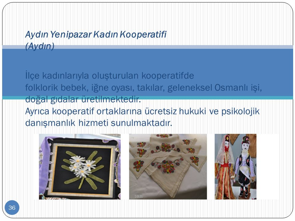 36 Aydın Yenipazar Kadın Kooperatifi (Aydın) İlçe kadınlarıyla oluşturulan kooperatifde folklorik bebek, iğne oyası, takılar, geleneksel Osmanlı işi,