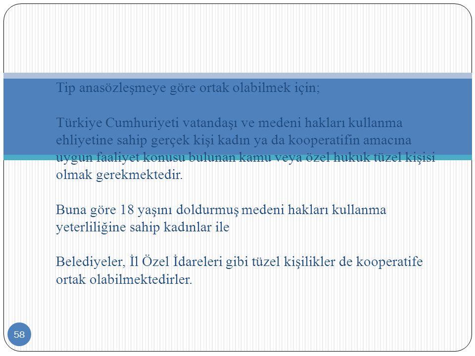 58 Tip anasözleşmeye göre ortak olabilmek için; Türkiye Cumhuriyeti vatandaşı ve medeni hakları kullanma ehliyetine sahip gerçek kişi kadın ya da koop