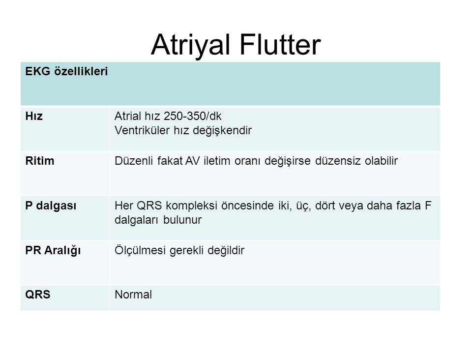 Atriyal Flutter EKG özellikleri HızAtrial hız 250-350/dk Ventriküler hız değişkendir RitimDüzenli fakat AV iletim oranı değişirse düzensiz olabilir P