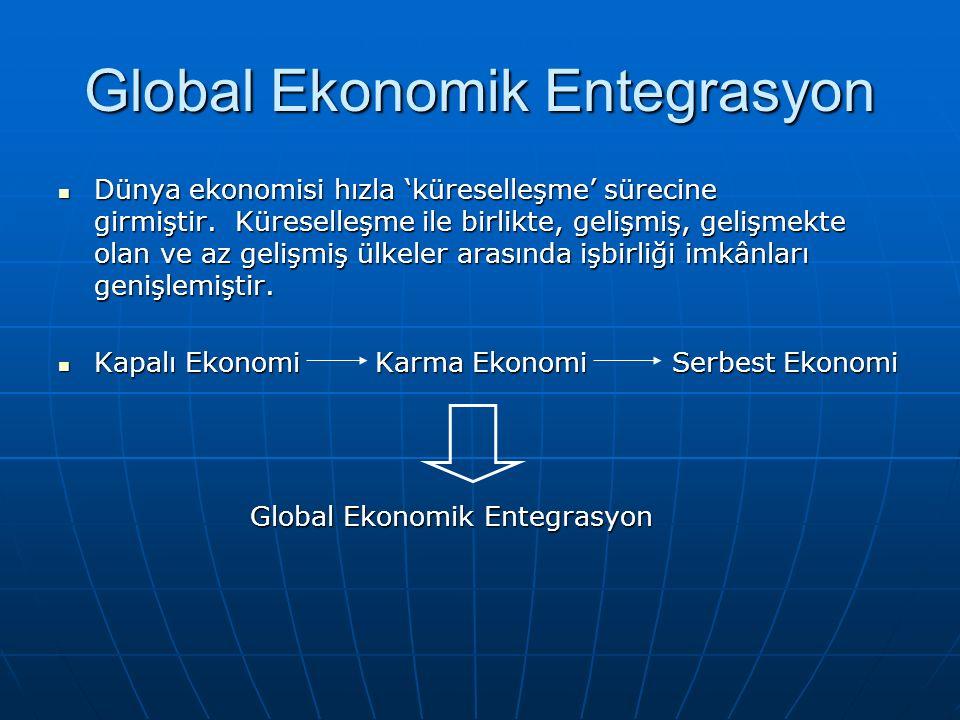 Global Ekonomik Entegrasyon Dünya ekonomisi hızla 'küreselleşme' sürecine girmiştir. Küreselleşme ile birlikte, gelişmiş, gelişmekte olan ve az gelişm