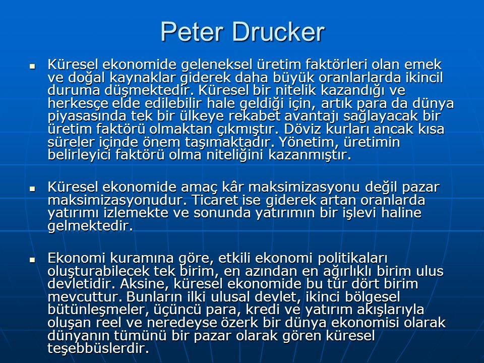 Peter Drucker Küresel ekonomide geleneksel üretim faktörleri olan emek ve doğal kaynaklar giderek daha büyük oranlarlarda ikincil duruma düşmektedir.