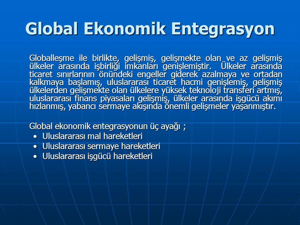 Global Ekonomik Entegrasyon Globalleşme ile birlikte, gelişmiş, gelişmekte olan ve az gelişmiş ülkeler arasında işbirliği imkanları genişlemiştir.