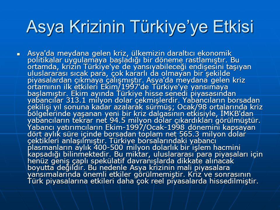 Asya Krizinin Türkiye'ye Etkisi Asya'da meydana gelen kriz, ülkemizin daraltıcı ekonomik politikalar uygulamaya başladığı bir döneme rastlamıştır. Bu