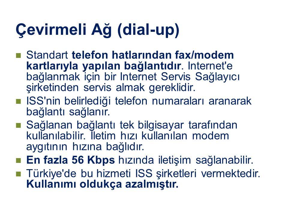 Çevirmeli Ağ (dial-up) Standart telefon hatlarından fax/modem kartlarıyla yapılan bağlantıdır. Internet'e bağlanmak için bir Internet Servis Sağlayıcı