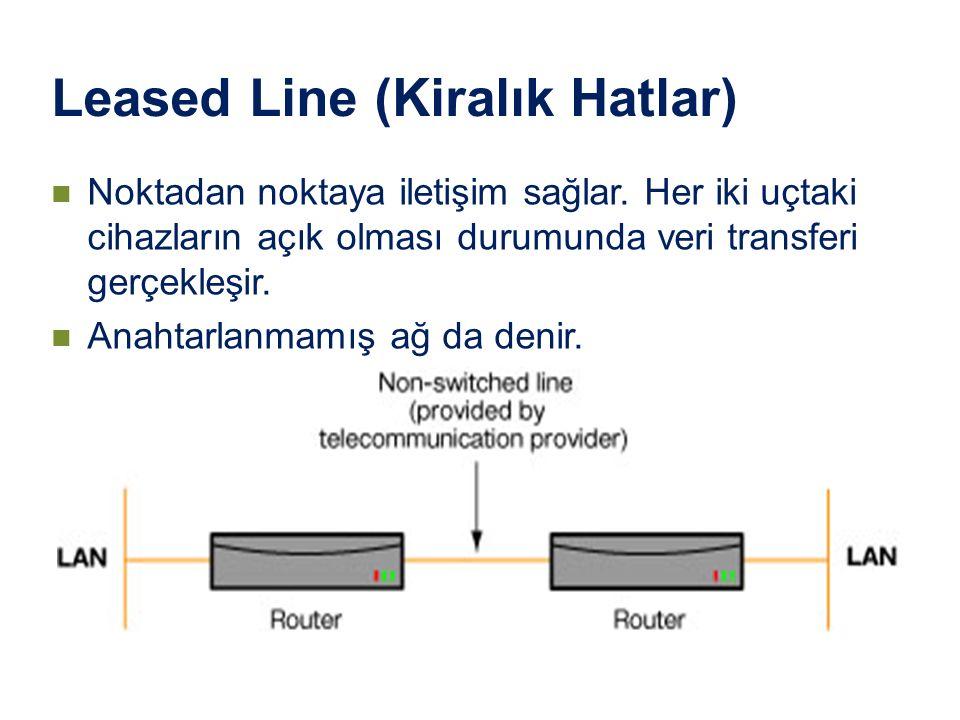 Leased Line (Kiralık Hatlar) Noktadan noktaya iletişim sağlar. Her iki uçtaki cihazların açık olması durumunda veri transferi gerçekleşir. Anahtarlanm