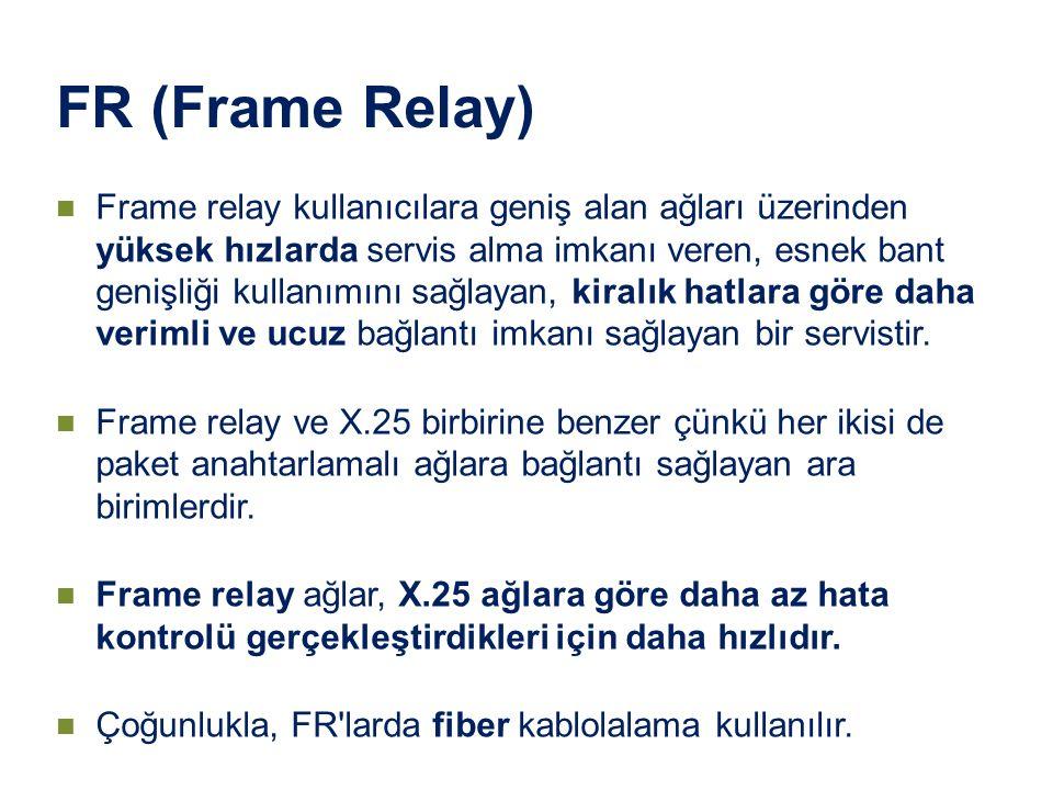 FR (Frame Relay) Frame relay kullanıcılara geniş alan ağları üzerinden yüksek hızlarda servis alma imkanı veren, esnek bant genişliği kullanımını sağl