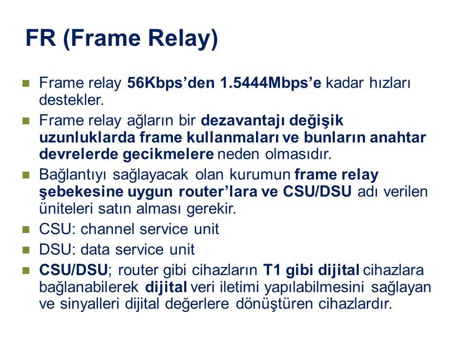 Frame relay 56Kbps'den 1.5444Mbps'e kadar hızları destekler. Frame relay ağların bir dezavantajı değişik uzunluklarda frame kullanmaları ve bunların a
