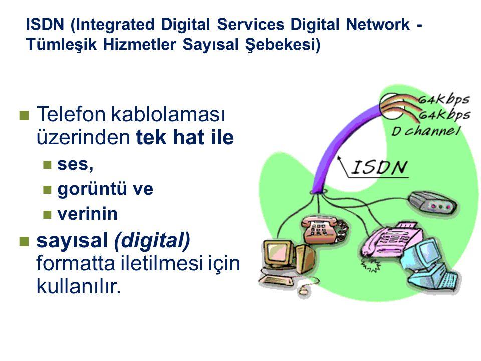 ISDN (Integrated Digital Services Digital Network - Tümleşik Hizmetler Sayısal Şebekesi) Telefon kablolaması üzerinden tek hat ile ses, gorüntü ve ver
