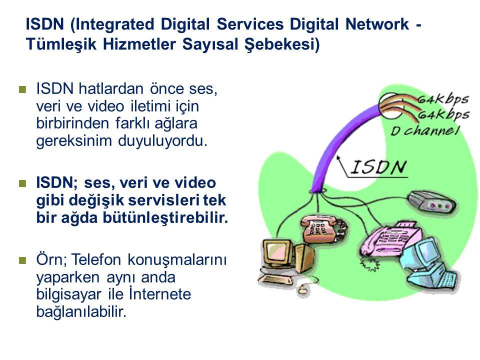 ISDN (Integrated Digital Services Digital Network - Tümleşik Hizmetler Sayısal Şebekesi) ISDN hatlardan önce ses, veri ve video iletimi için birbirind