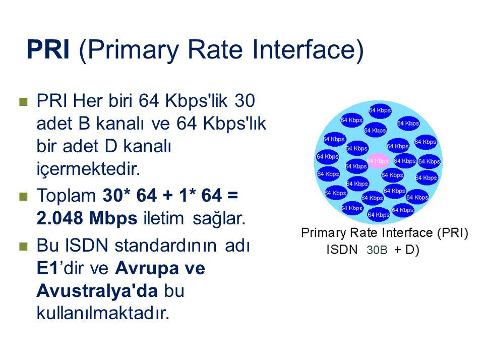 PRI Her biri 64 Kbps'lik 30 adet B kanalı ve 64 Kbps'lık bir adet D kanalı içermektedir. Toplam 30* 64 + 1* 64 = 2.048 Mbps iletim sağlar. Bu ISDN sta