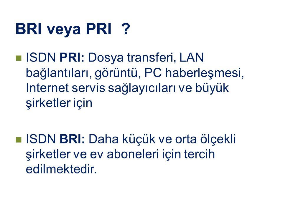 BRI veya PRI ? ISDN PRI: Dosya transferi, LAN bağlantıları, görüntü, PC haberleşmesi, Internet servis sağlayıcıları ve büyük şirketler için ISDN BRI: