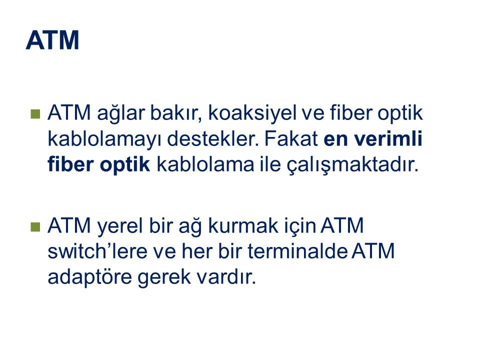 ATM ATM ağlar bakır, koaksiyel ve fiber optik kablolamayı destekler. Fakat en verimli fiber optik kablolama ile çalışmaktadır. ATM yerel bir ağ kurmak