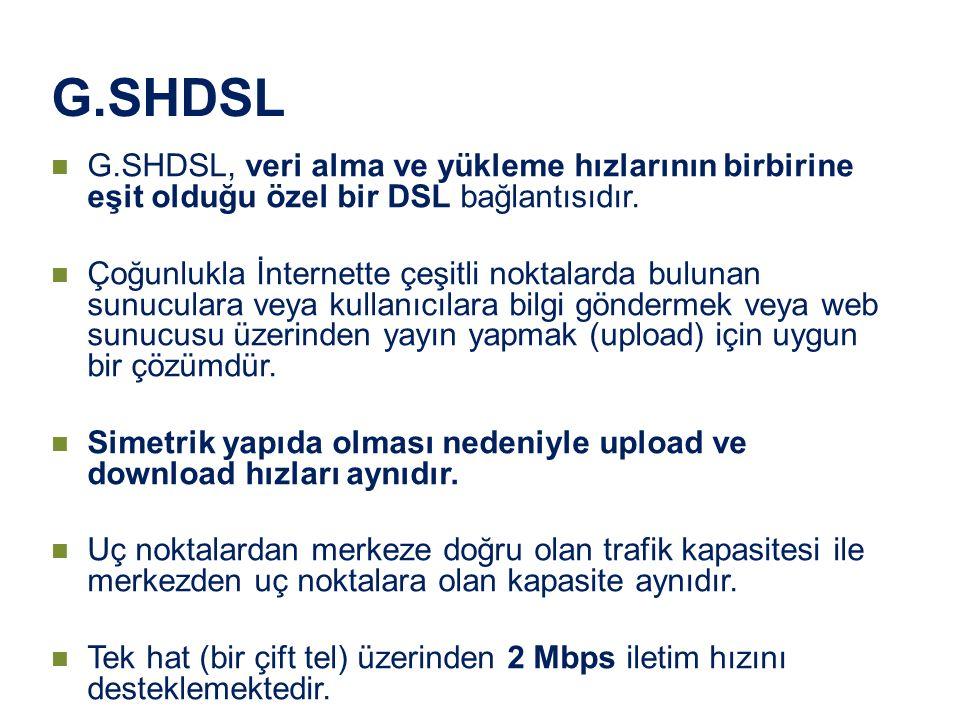 G.SHDSL G.SHDSL, veri alma ve yükleme hızlarının birbirine eşit olduğu özel bir DSL bağlantısıdır. Çoğunlukla İnternette çeşitli noktalarda bulunan su