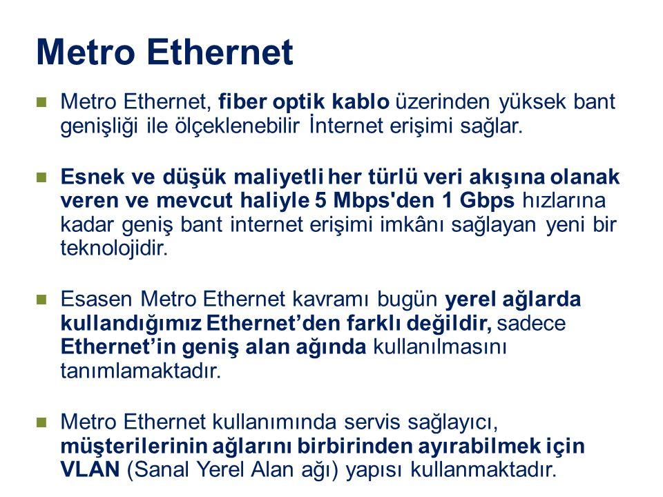 Metro Ethernet Metro Ethernet, fiber optik kablo üzerinden yüksek bant genişliği ile ölçeklenebilir İnternet erişimi sağlar. Esnek ve düşük maliyetli