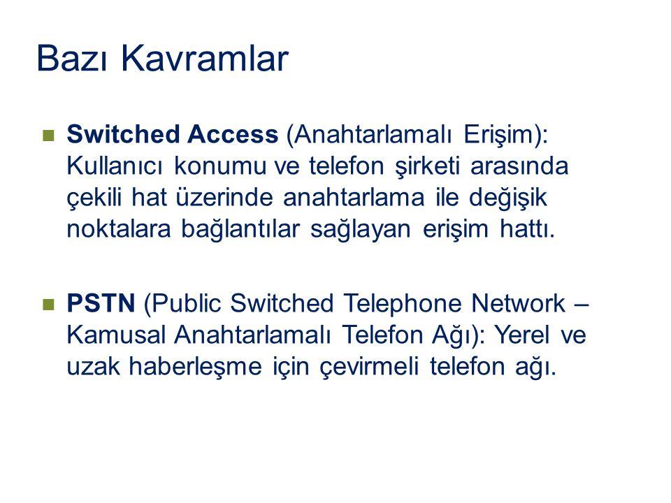 Switched Access (Anahtarlamalı Erişim): Kullanıcı konumu ve telefon şirketi arasında çekili hat üzerinde anahtarlama ile değişik noktalara bağlantılar
