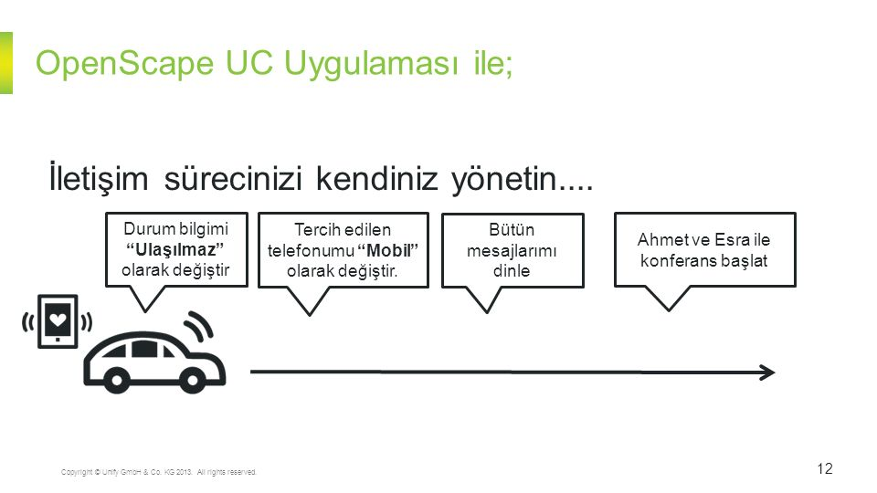 """OpenScape UC Uygulaması ile; 12 Copyright © Unify GmbH & Co. KG 2013. All rights reserved. İletişim sürecinizi kendiniz yönetin.... Durum bilgimi """"Ula"""