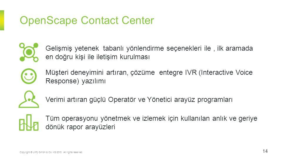 OpenScape Contact Center 14 Copyright © Unify GmbH & Co. KG 2013. All rights reserved. Tüm operasyonu yönetmek ve izlemek için kullanılan anlık ve ger