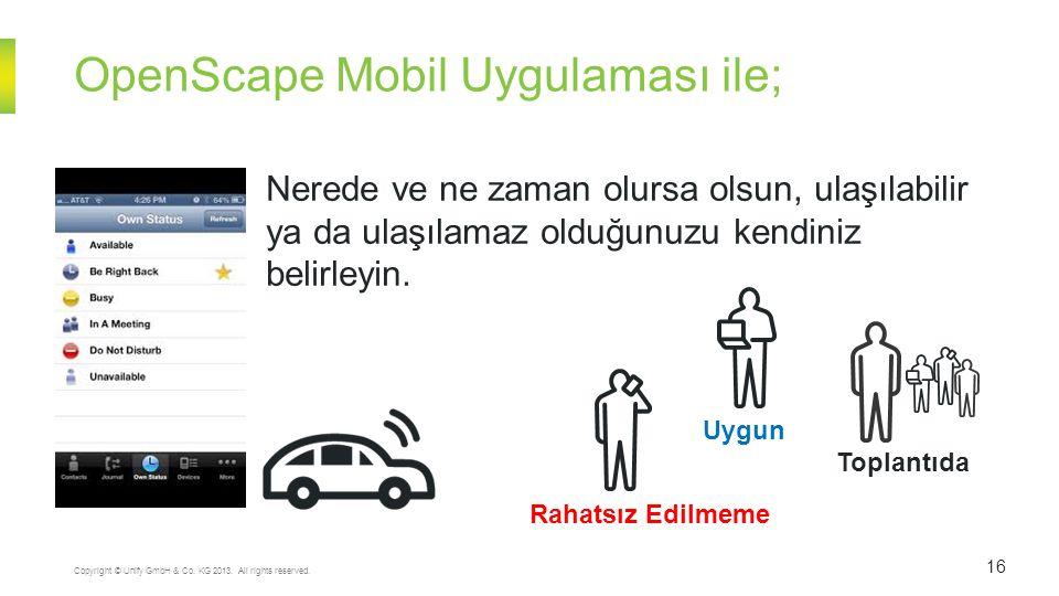 OpenScape Mobil Uygulaması ile; 16 Copyright © Unify GmbH & Co. KG 2013. All rights reserved. Uygun Rahatsız Edilmeme Toplantıda Nerede ve ne zaman ol