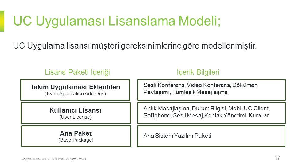 UC Uygulaması Lisanslama Modeli; 17 Copyright © Unify GmbH & Co. KG 2013. All rights reserved. UC Uygulama lisansı müşteri gereksinimlerine göre model