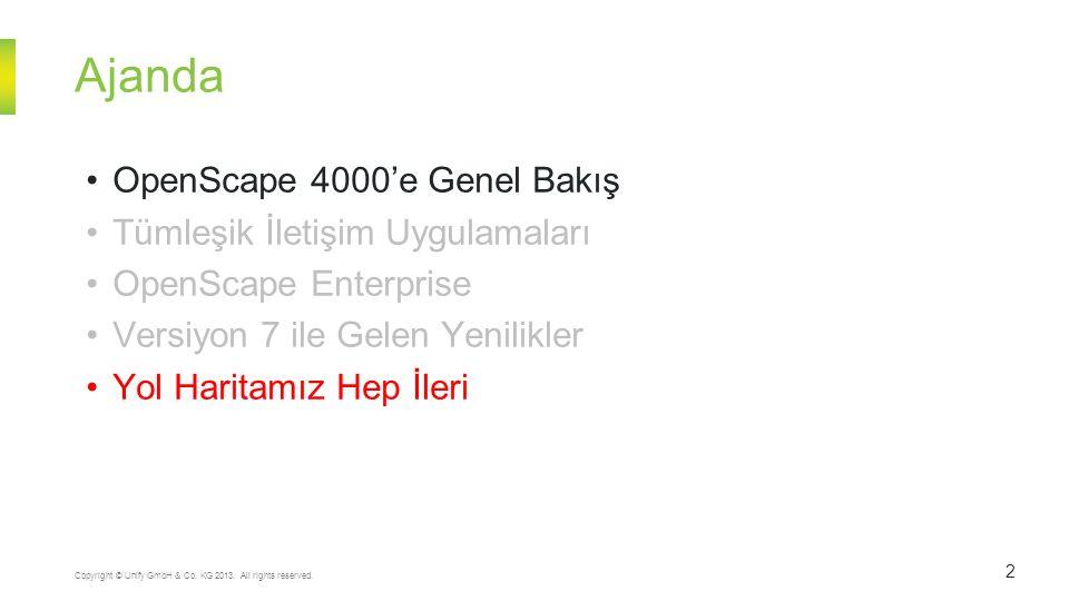 Ajanda 2 Copyright © Unify GmbH & Co. KG 2013. All rights reserved. OpenScape 4000'e Genel Bakış Tümleşik İletişim Uygulamaları OpenScape Enterprise V