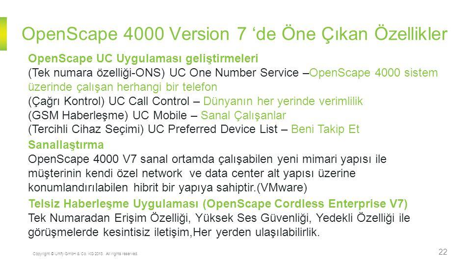 OpenScape 4000 Version 7 'de Öne Çıkan Özellikler 22 Copyright © Unify GmbH & Co. KG 2013. All rights reserved. OpenScape UC Uygulaması geliştirmeleri