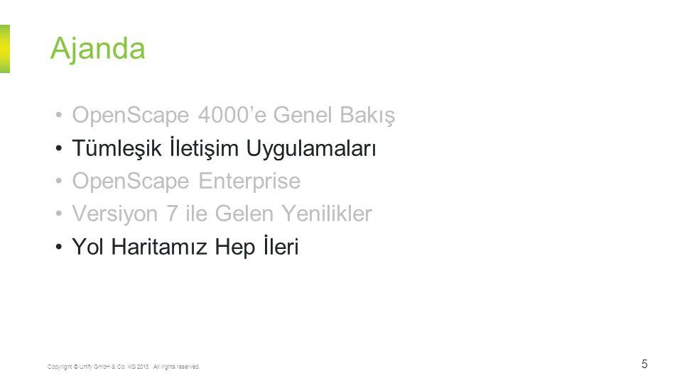 Ajanda 5 Copyright © Unify GmbH & Co. KG 2013. All rights reserved. OpenScape 4000'e Genel Bakış Tümleşik İletişim Uygulamaları OpenScape Enterprise V