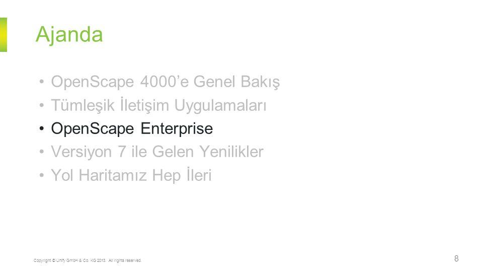 Ajanda 8 Copyright © Unify GmbH & Co. KG 2013. All rights reserved. OpenScape 4000'e Genel Bakış Tümleşik İletişim Uygulamaları OpenScape Enterprise V