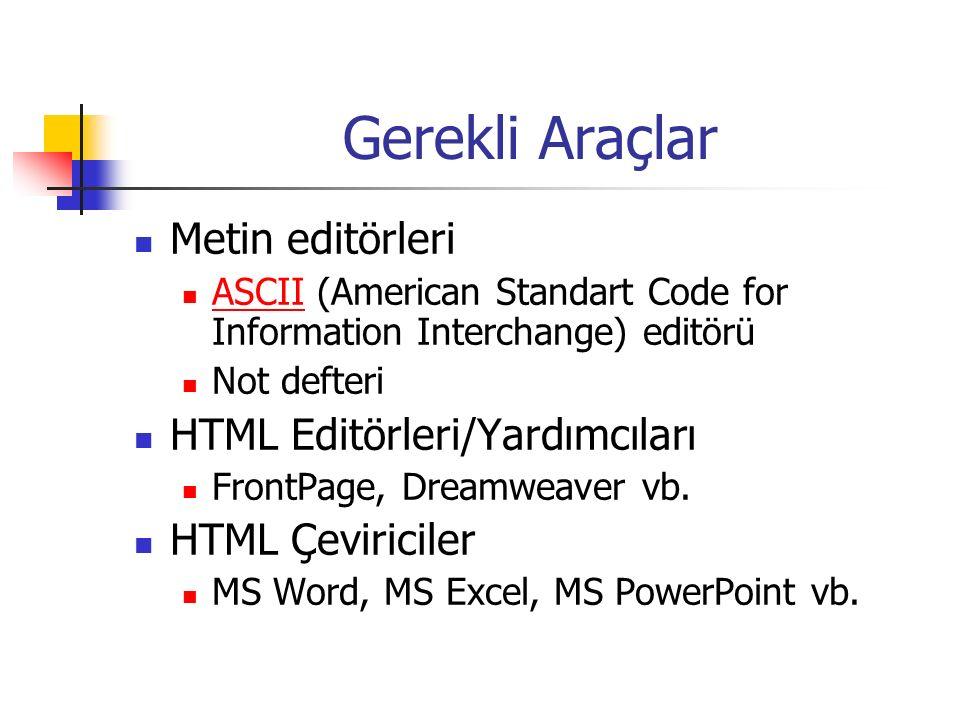 Gerekli Araçlar Metin editörleri ASCII (American Standart Code for Information Interchange) editörü ASCII Not defteri HTML Editörleri/Yardımcıları Fro