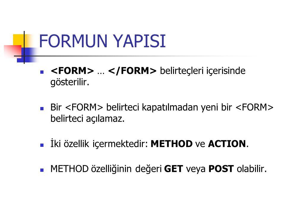 FORMUN YAPISI … belirteçleri içerisinde gösterilir. Bir belirteci kapatılmadan yeni bir belirteci açılamaz. İki özellik içermektedir: METHOD ve ACTION