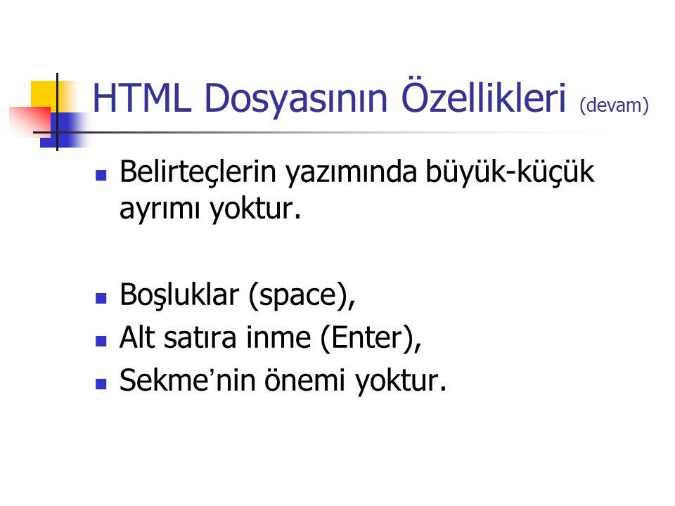 HTML Dosyasının Özellikleri (devam) Belirteçlerin yazımında büyük-küçük ayrımı yoktur. Boşluklar (space), Alt satıra inme (Enter), Sekme ' nin önemi y