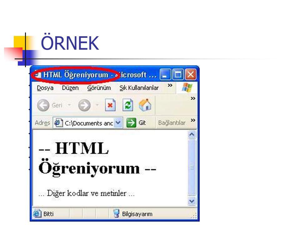 ÖRNEK HTML Öğreniyorum -- HTML Öğreniyorum --... Diğer kodlar ve metinler...