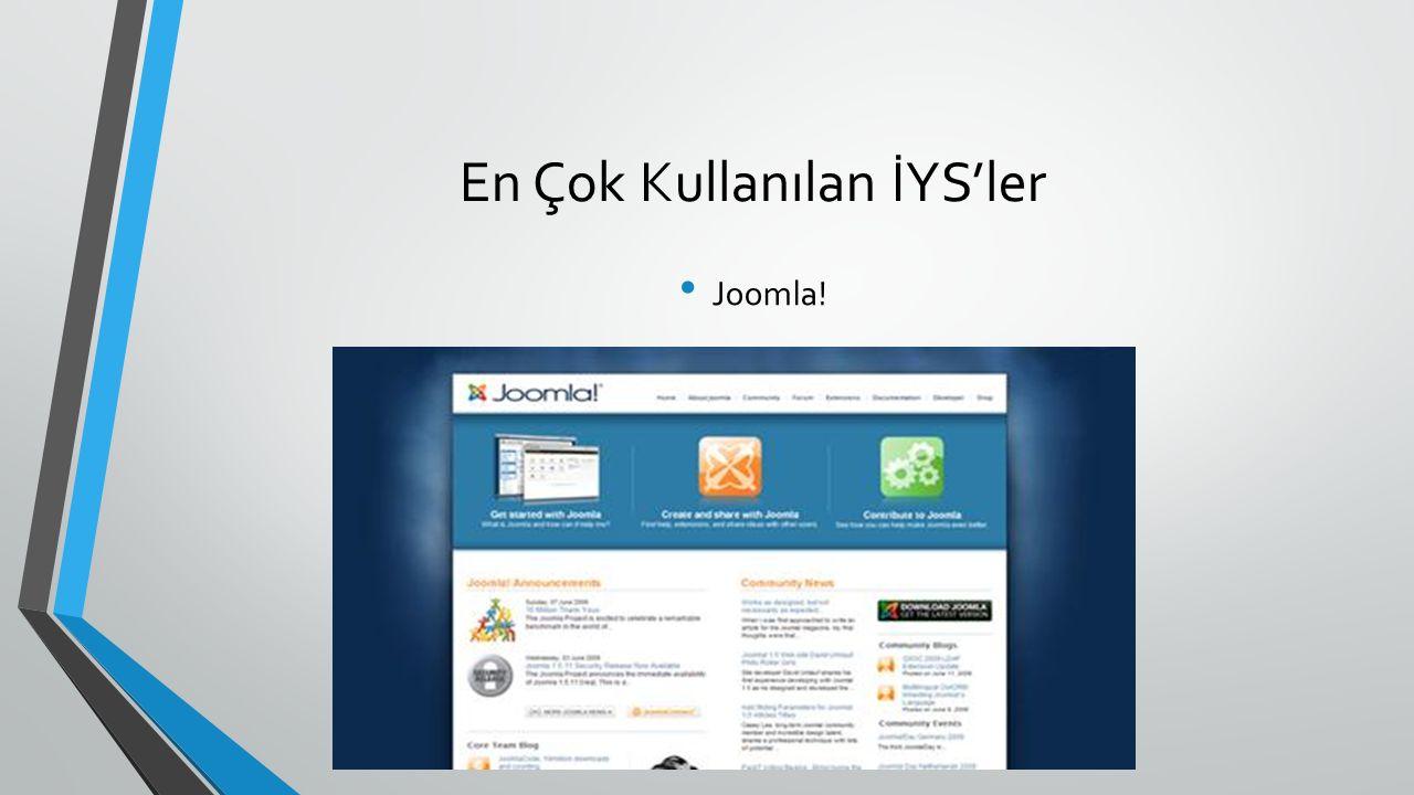 En Çok Kullanılan İYS'ler Joomla!
