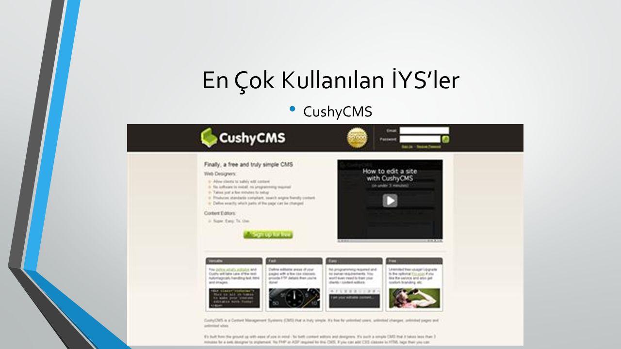 En Çok Kullanılan İYS'ler CushyCMS