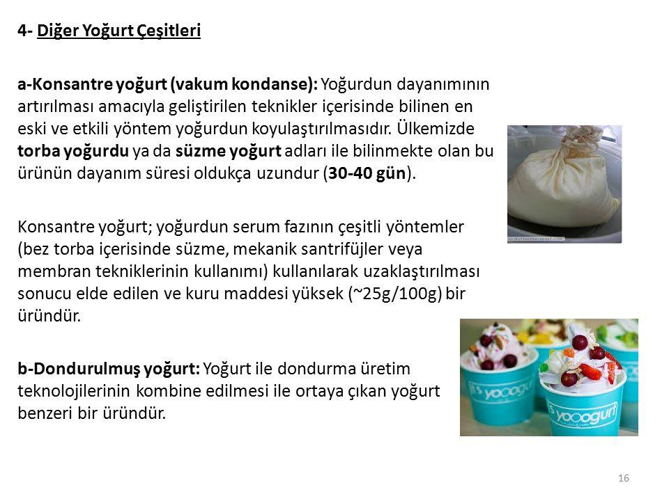 4- Diğer Yoğurt Çeşitleri a-Konsantre yoğurt (vakum kondanse): Yoğurdun dayanımının artırılması amacıyla geliştirilen teknikler içerisinde bilinen en eski ve etkili yöntem yoğurdun koyulaştırılmasıdır.