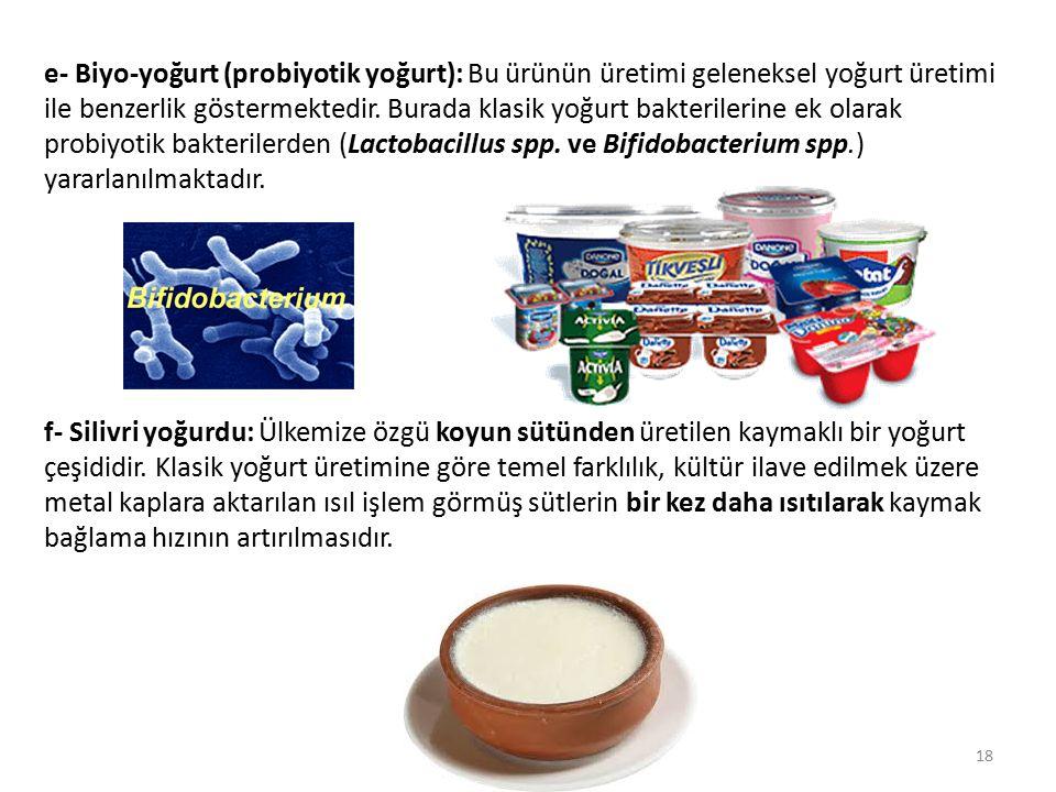 e- Biyo-yoğurt (probiyotik yoğurt): Bu ürünün üretimi geleneksel yoğurt üretimi ile benzerlik göstermektedir. Burada klasik yoğurt bakterilerine ek ol