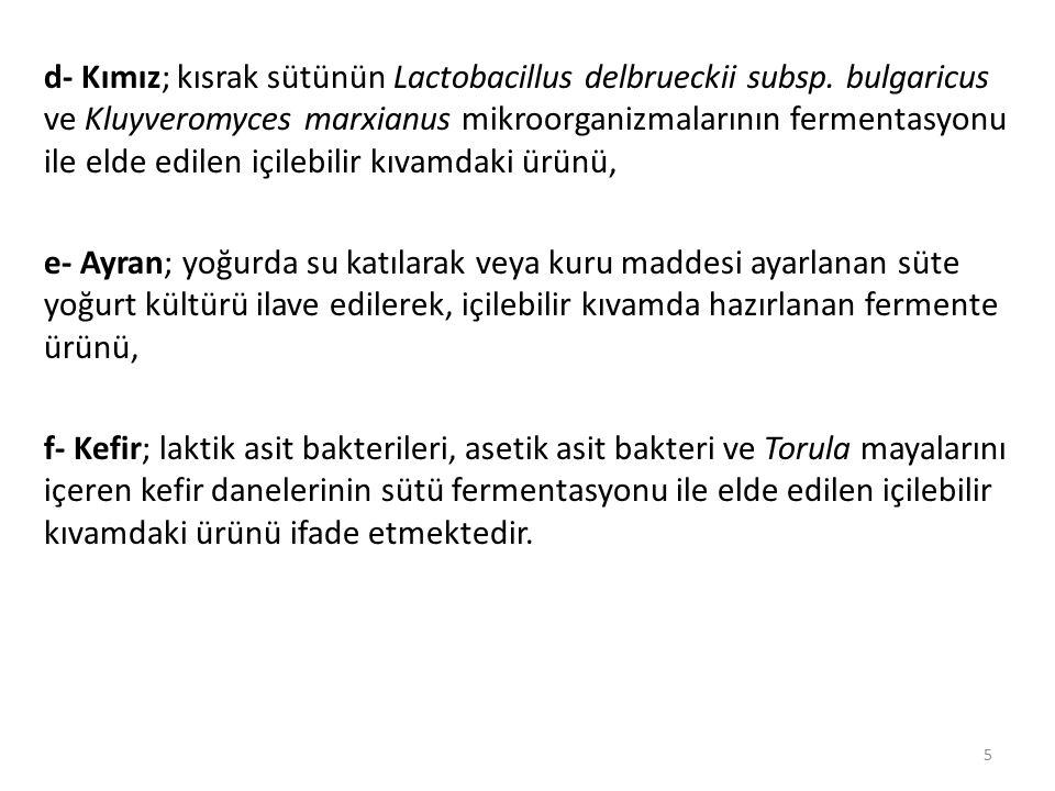 d- Kımız; kısrak sütünün Lactobacillus delbrueckii subsp.