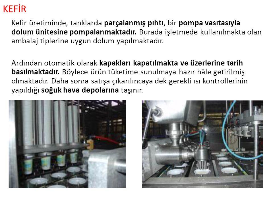 KEFİR Kefir üretiminde, tanklarda parçalanmış pıhtı, bir pompa vasıtasıyla dolum ünitesine pompalanmaktadır. Burada işletmede kullanılmakta olan ambal