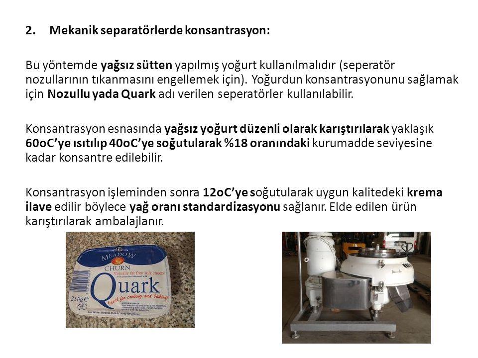 2.Mekanik separatörlerde konsantrasyon: Bu yöntemde yağsız sütten yapılmış yoğurt kullanılmalıdır (seperatör nozullarının tıkanmasını engellemek için)