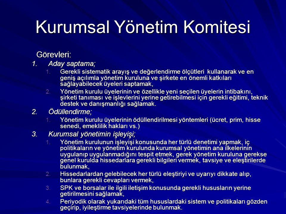 Kurumsal Yönetim Komitesi Görevleri: 1.Aday saptama; 1. Gerekli sistematik arayış ve değerlendirme ölçütleri kullanarak ve en geniş açılımla yönetim k