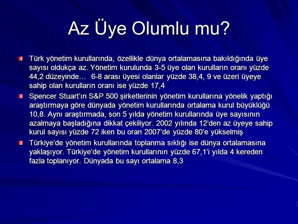 Az Üye Olumlu mu? Türk yönetim kurullarında, özellikle dünya ortalamasına bakıldığında üye sayısı oldukça az. Yönetim kurulunda 3-5 üye olan kurulları