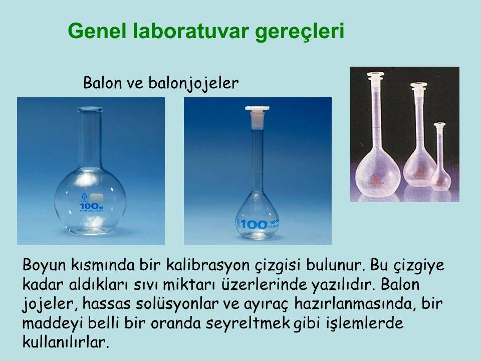 Genel laboratuvar gereçleri Balon ve balonjojeler Boyun kısmında bir kalibrasyon çizgisi bulunur. Bu çizgiye kadar aldıkları sıvı miktarı üzerlerinde