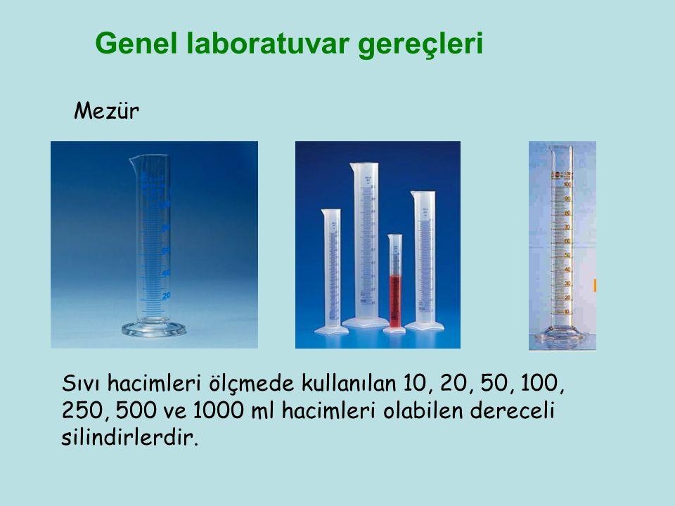 Genel laboratuvar gereçleri Mezür Sıvı hacimleri ölçmede kullanılan 10, 20, 50, 100, 250, 500 ve 1000 ml hacimleri olabilen dereceli silindirlerdir.