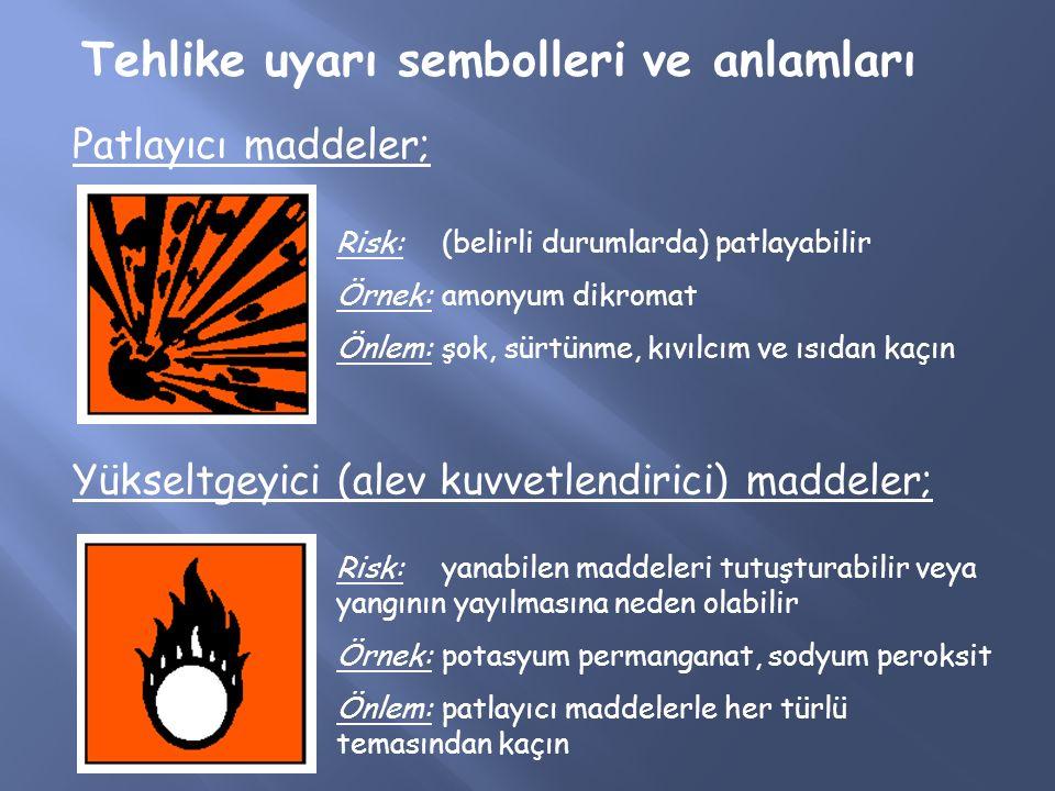 Tehlike uyarı sembolleri ve anlamları Patlayıcı maddeler; Risk: (belirli durumlarda) patlayabilir Örnek: amonyum dikromat Önlem: şok, sürtünme, kıvılc