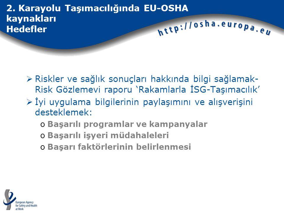 2. Karayolu Taşımacılığında EU-OSHA kaynakları Hedefler  Riskler ve sağlık sonuçları hakkında bilgi sağlamak- Risk Gözlemevi raporu 'Rakamlarla İSG-T